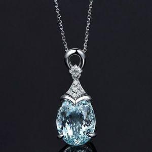 New Light blue natural stone necklace pendant